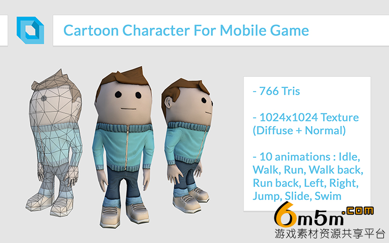 unity3d手游卡通动画角色模型Cartoon Character For Mobile Game