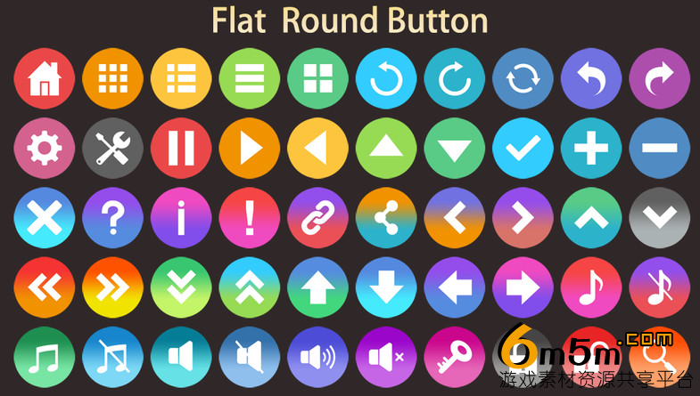 unity按钮图标资源包6000+ Flat Buttons Icons Pack 2.2