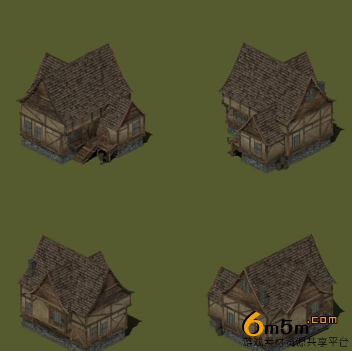 2D中世纪房屋建筑素材isometric medieval buildings