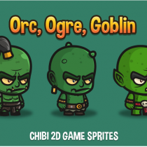 2D半兽人精灵素材ORC, OGRE AND GOBLIN CHIBI 2D GAME SPRITE