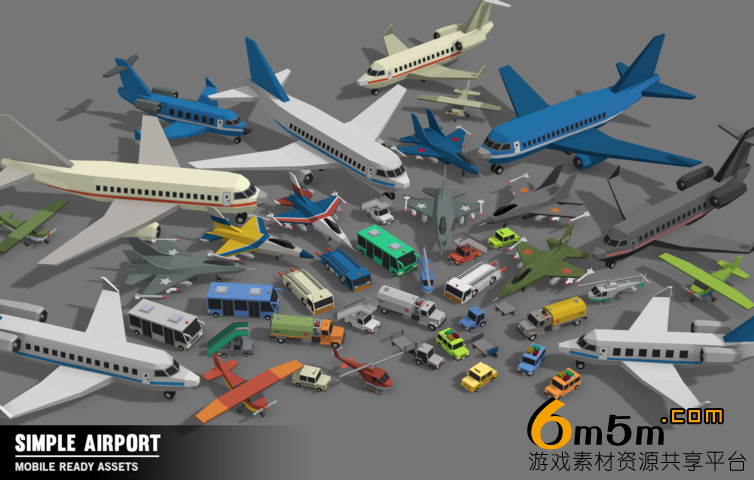 unity卡通飞机场模型Simple Airport - Cartoon Assets v1.11