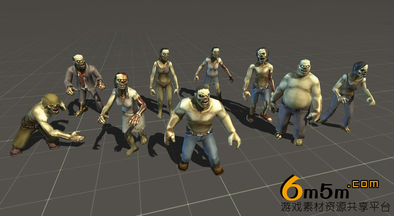 unity游戏僵尸动画资源包Toon Zombies - Extended Pack 1.0
